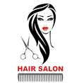 hair salon icon with woman face and scissors vector image