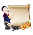 halloween vampire dracula scroll vector image