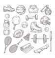 hand drawn sports equipment medal basketball vector image