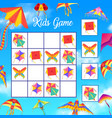 kids crossword or logical game with paper kites vector image