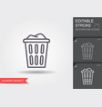 laundry basket with dirty clothes outline icon vector image