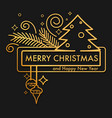 merry christmas and happy new year gold on black vector image