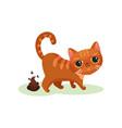 naughty kitten pooping mischievous cute little vector image vector image