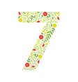number 7 green floral made leaves vector image vector image