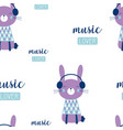 pattern with bunny in headphones vector image vector image