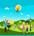 people in park men and women on meadow landscape vector image vector image