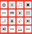 set of 16 audio icons includes note skip song vector image vector image