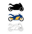 set of flat bike icon cartoon outline vector image vector image