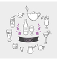 Set of hand drawn stylized drinks in Background vector image vector image
