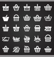 shop basket icons set on black background for vector image