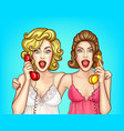 surprised women calling friend pop art vector image vector image