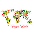 veggies and vegetables world map vector image vector image