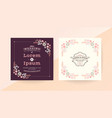 wedding invitation card with pink floral frame vector image
