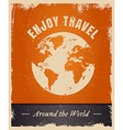 Vintage grunge travelling logo template with earth vector image