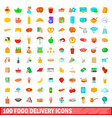 100 food delivery icons set cartoon style vector image vector image