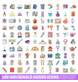 100 household goods icons set cartoon style vector image vector image