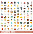 100 legend icons set flat style vector image