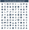 100 mark icons vector image vector image