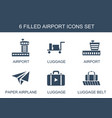 6 airport icons vector image vector image