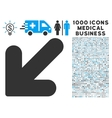 Arrow Down Left Icon with 1000 Medical Business vector image vector image