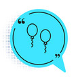 black line balloons with ribbons icon isolated on vector image vector image