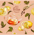 Black tea pattern vector image vector image
