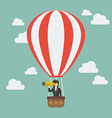 Business woman in hot air balloon search to vector image vector image