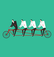 businessman on tandem business team on bicycle vector image vector image