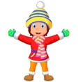 Cartoon a girl in Winter clothes waving hand vector image vector image
