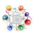 Celebration with confetti and balloon vector image vector image