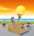 Children playing skateboard on the ramp vector image
