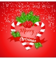 Christmas candy cane with holly and red ribbon vector image vector image