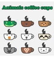 coffee animals cup set vector image vector image