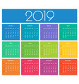 colorful year 2019 calendar vector image