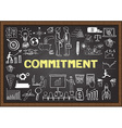 Commitment on chalkboard vector image vector image