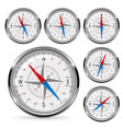 compass set of round gauge with chrome frame vector image vector image
