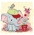 cute cartoon elephant with flower vector image