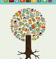 Education icons pencil tree vector image vector image