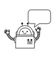 electronic robot with speech bubble character vector image