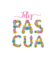 feliz pascua spanish easter greeting flower card vector image