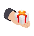 Gift in hand 3d isometric icon vector image