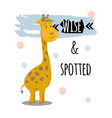 giraffe animal character with quotes vector image