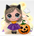 halloween card with girl in cosume black cat on a vector image vector image