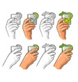 hands holding glass cocktail gin with basil and vector image vector image