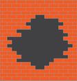 Hole in brick wall orange vector image vector image