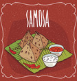 indian snack samosa with sauce and curd cheese vector image vector image