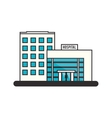 Isolated hospital building design vector image vector image