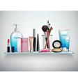 Makeup Cosmetics Accessories Shelf Realistic Image vector image vector image