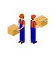 male with cardboard parcel production line worker vector image vector image
