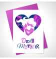 mother silhouette with her baand watercolor vector image